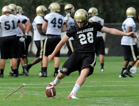 "University of Colorado kicker Will Oliver during the second football practice of the fall camp on Tuesday, Aug. 7, at the CU practice field in Boulder. For more photos of the practice go to  <a href=""http://www.dailycamera.com"">http://www.dailycamera.com</a><br /> Jeremy Papasso/ Camera"