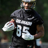 "University of Colorado's DaVaughn Thornton runs with the ball during the second football practice of the fall camp on Tuesday, Aug. 7, at the CU practice field in Boulder. For more photos of the practice go to  <a href=""http://www.dailycamera.com"">http://www.dailycamera.com</a><br /> Jeremy Papasso/ Camera"