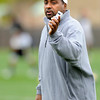 "University of Colorado Head Coach Jon Embree directs his team on Monday, April 2, during spring football practice at the CU practice field on campus in Boulder. For more photos of practice go to  <a href=""http://www.dailycamera.com"">http://www.dailycamera.com</a><br />  Jeremy Papasso/ Camera"