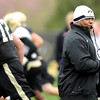 "University of Colorado assistant coach Eric Bieniemy blows the whistle on Monday, April 2, during spring football practice at the CU practice field on campus in Boulder. For more photos of practice go to  <a href=""http://www.dailycamera.com"">http://www.dailycamera.com</a><br />  Jeremy Papasso/ Camera"