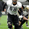 "University of Colorado's Andre Nichols finishes a drill on Monday, April 2, during spring football practice at the CU practice field on campus in Boulder. For more photos of practice go to  <a href=""http://www.dailycamera.com"">http://www.dailycamera.com</a><br />  Jeremy Papasso/ Camera"