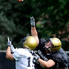University of Colorado's Matt Meyer (rigth) covers Jason Espenoza (left) during football practice in Boulder, Colorado August 9, 2010.  CAMERA/Mark Leffingwell