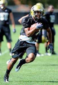 Will Jefferson at CU practice on August 12, 2009 (Photo by Cliff Grassmick).