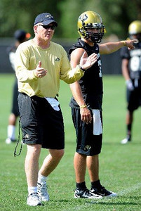 Dan and Cody Hawkins at CU practice on August 12, 2009 (Photo by Cliff Grassmick).