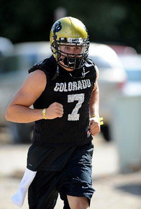 CU QB Cody Hawkins at practice August 12, 2009 (Photo by Cliff Grassmick).