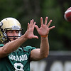 "Nick Hirschman catches passes during practice on Friday.<br /> For more photos of CU football, go to  <a href=""http://www.dailycamera.com"">http://www.dailycamera.com</a>.<br /> Cliff Grassmick / August 26, 2011"