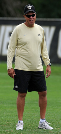 """Rip Scherer jokes with players before practice on August 26, 2011.<br /> For more photos of CU football, go to  <a href=""""http://www.dailycamera.com"""">http://www.dailycamera.com</a>.<br /> Cliff Grassmick / August 26, 2011"""