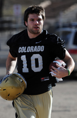 """New CU quarterback, Brent Burnette at practice.<br /> For a videos and photos of the practice, go to  <a href=""""http://www.dailycamera.com"""">http://www.dailycamera.com</a>.<br /> Cliff Grassmick/ March 11, 2011"""