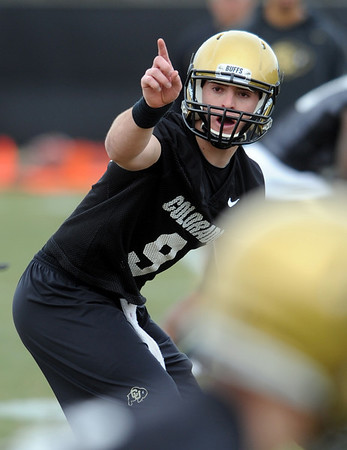 """QB Tyler Hansen during day 2 of Spring practice.<br /> For more photos and videos, go to  <a href=""""http://www.dailycamera.com"""">http://www.dailycamera.com</a>.<br /> Cliff Grassmick/ March 12, 2011"""