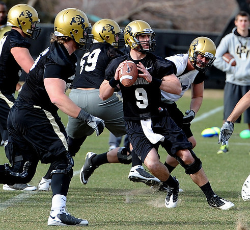 "QB Tyler Hansen during day 2 of Spring practice.<br /> For more photos and videos, go to  <a href=""http://www.dailycamera.com"">http://www.dailycamera.com</a>.<br /> Cliff Grassmick/ March 12, 2011"