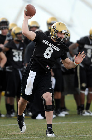 "CU QB Nick Hirschman in Spring practice.<br /> For a videos and photos of the practice, go to  <a href=""http://www.dailycamera.com"">http://www.dailycamera.com</a>.<br /> Cliff Grassmick/ March 11, 2011"