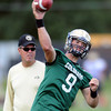 "QB Tyler Hansen throws during practice on Wednesday.<br /> For more photos and a video from CU football today, go to  <a href=""http://www.dailycamera.com"">http://www.dailycamera.com</a>.<br /> Cliff Grassmick / August 17, 2011"