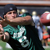 "QB Nick Hirschman reaches out for a catch while helping out at practice.<br /> For more photos and a video from CU football today, go to  <a href=""http://www.dailycamera.com"">http://www.dailycamera.com</a>.<br /> Cliff Grassmick / August 17, 2011"
