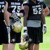 """Jack Harris, left, and Daniel Munyer at Thursday's practice.<br /> For a video and photos of today's practice, go to  <a href=""""http://www.dailycamera.com"""">http://www.dailycamera.com</a>.<br /> Cliff Grassmick / August 18, 2011"""
