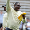 "Kanavis McGhee yells out instructions during the Friday scrimmage.<br /> For more photos and videos from Friday, go to  <a href=""http://www.dailycamera.com"">http://www.dailycamera.com</a><br /> Cliff Grassmick / August 19, 2011"