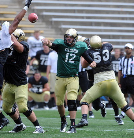 "CU QB Stevie Joe Dorman got some work in Friday's scrimmage.<br /> For more photos and videos from Friday, go to  <a href=""http://www.dailycamera.com"">http://www.dailycamera.com</a><br /> Cliff Grassmick / August 19, 2011"