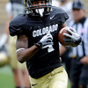 """Keenan Canty runs in a kick-off return in Friday's scrimmage.<br /> For more photos and videos from Friday, go to  <a href=""""http://www.dailycamera.com"""">http://www.dailycamera.com</a><br /> Cliff Grassmick / August 19, 2011"""