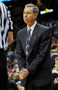 Colorado coach Jeff Bzdelik looks to a game official during the second half of a NCAA college basketball game against Texas Tech at the Big 12 Conference tournament on Wednesday, March 10, 2010, in Kansas City, Kan. (AP Photo/Reed Hoffmann)