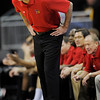 Texas Tech coach Pat Knight yells to his team during the second half of a NCAA college basketball game against Colorado at the Big 12 Conference tournament on Wednesday, March 10, 2010, in Kansas City, Kan. (AP Photo/Reed Hoffmann)