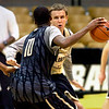 "#10 Alec Burks  left  dribbles against #55 Trey Eckloff  during the University of Colorado Men's basketball team practice Tuesday morning October 19, 2010 at the Coors Events Center on the CU Boulder Campus. FOR MORE PHOTOS GO TO  <a href=""http://WWW.DAILYCAMERA.COM"">http://WWW.DAILYCAMERA.COM</a>"