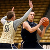 "#55 Trey Eckloff, left, works against #15 Shane Harris-Tunks during the University of Colorado Men's basketball team practice Tuesday morning October 19, 2010 at the Coors Events Center on the CU Boulder Campus. FOR MORE PHOTOS GO TO  <a href=""http://WWW.DAILYCAMERA.COM"">http://WWW.DAILYCAMERA.COM</a>"