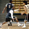 "#2 Shannon Sharpe guards against #35 Hassan Safieddine during the University of Colorado Men's basketball team practice Tuesday morning October 19, 2010 at the Coors Events Center on the CU Boulder Campus. FOR MORE PHOTOS GO TO  <a href=""http://WWW.DAILYCAMERA.COM"">http://WWW.DAILYCAMERA.COM</a>"