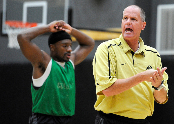 "University of Colorado Head Basketball Coach Tad Boyle yells at his team on Friday, Oct. 14, during the first CU Men's basketball practice at the Coors Event Center on the CU campus in Boulder. For more photos of the practice go to  <a href=""http://www.dailycamera.com"">http://www.dailycamera.com</a><br /> Jeremy Papasso/ Camera"