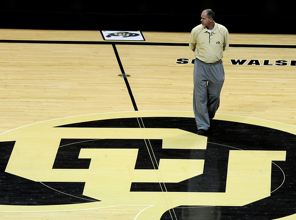 """Colorado head coach, Tad Boyle, watches practice on Friday, March 25, 2011<br /> The University of Colorado's men's basketball team is preparing for the NIT Final 4 in New York. For videos of players and coach Boyle, go to  <a href=""""http://www.dailycamera.com"""">http://www.dailycamera.com</a>.<br /> Cliff Grassmick/ March 25, 2011"""