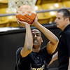 "Alec Burks shoots at CU practice on Friday.<br /> The University of Colorado's men's basketball team is preparing for the NIT Final 4 in New York.  For videos of players and coach Boyle, go to  <a href=""http://www.dailycamera.com"">http://www.dailycamera.com</a>.<br /> Cliff Grassmick/ March 25, 2011"