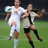 "Justyne Freud (15) of OSU, and Olivia Pappalardo of CU, battle for possession on Saturday.<br /> For more photos from the game, go to  <a href=""http://www.dailycamera.com"">http://www.dailycamera.com</a>.<br /> Cliff Grassmick  / October 13, 2012"