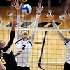 "Ana Pantovic (2) and Kelsey English, both of CU, go up to block the shot of Sara Almen of Oregon State.<br /> For more photos of the game, go to  <a href=""http://www.dailycamera.com"">http://www.dailycamera.com</a>.<br /> Cliff Grassmick / October 28, 2012"