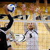 "Nicole Edelman (5) and Kelsey English, both of CU, go up to block the shot of Sara Almen of Oregon State.<br /> For more photos of the game, go to  <a href=""http://www.dailycamera.com"">http://www.dailycamera.com</a>.<br /> Cliff Grassmick / October 28, 2012"