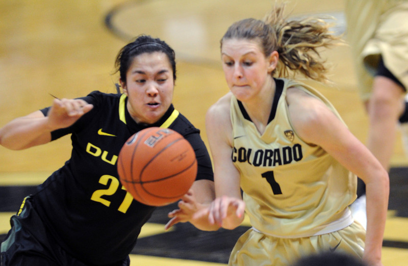 "Amanda Delgado, left, of Oregon, fouls Lexy Kresl of CU.<br /> For more photos of the game, go to  <a href=""http://www.dailycamera.com"">http://www.dailycamera.com</a>.<br /> Cliff Grassmick / February 10, 2013"
