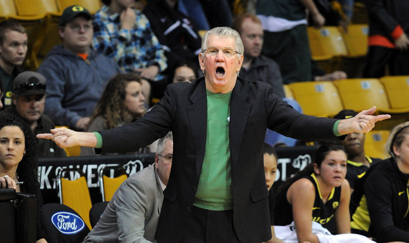 "Oregon Coach Paul Westhead coached the Denver Nuggets in the 1990's.<br /> For more photos of the game, go to  <a href=""http://www.dailycamera.com"">http://www.dailycamera.com</a>.<br /> Cliff Grassmick / February 10, 2013"