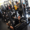 Pat Devenny bench presses 225 lbs. as many times as he can for the scouts.<br /> University of Colorado football players eligible for the NFL Draft showed their skills during  pro-timing day on campus  on Wednesday.<br /> Cliff Grassmick / March 10, 2010