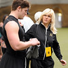 Jake Behrens got support from his mother, Stacie, who drove in from Omaha.<br /> University of Colorado football players eligible for the NFL Draft showed their skills during  pro-timing day on campus  on Wednesday.<br /> Cliff Grassmick / March 10, 2010