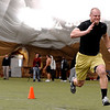 Shaun Mohler runs a 40 for the NFL scouts.<br /> University of Colorado football players eligible for the NFL Draft showed their skills during  pro-timing day on campus  on Wednesday.<br /> Cliff Grassmick / March 10, 2010