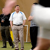 Colorado head coach Dan Hawkins watched his former players  perform for the NFL scouts.<br /> University of Colorado football players eligible for the NFL Draft showed their skills during  pro-timing day on campus  on Wednesday.<br /> Cliff Grassmick / March 10, 2010