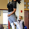 Ben Burney skies during a vertical jump attempt.<br /> University of Colorado football players eligible for the NFL Draft showed their skills during  pro-timing day on campus  on Wednesday.<br /> Cliff Grassmick / March 10, 2010