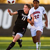 S1030SOCCER2<br /> CU's #11, Erin Bricker gets tangled up with Nebraska's #22,  Maritza Hayes, flies to intercept during CU's 2-1 victory.<br /> <br /> Photo by: Jonathan Castner