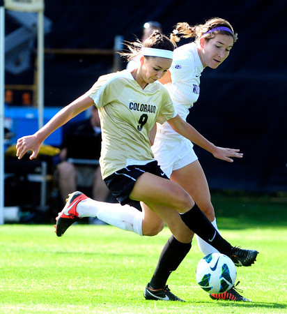 """University of Colorado Womens Team Soccer Player () during their game in Boulder on Friday September 28, 2012. Photo by Paul Aiken /   <a href=""""http://www.buffzone.com"""">http://www.buffzone.com</a>"""