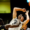 Colorado Buffalo's Austin Dufault (33) loses the ball after Arkansas-Pine Bluff's Tavaris Washington (21) knocks it out of bounds during the season opener at the Coors Even Center in Boulder, Friday, Nov. 13, 2009. <br /> <br /> KASIA BROUSSALIAN / THE CAMERA