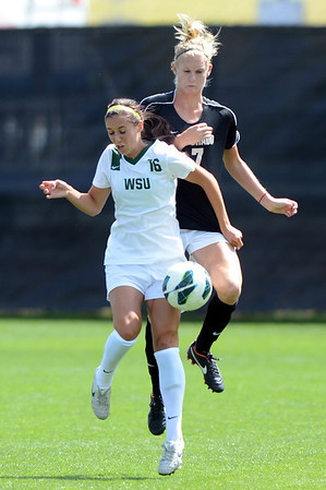 """Sarah Gross of WSU, positions herself in front of Shaye Marshall of CU.<br /> For more photos of the game, go to  <a href=""""http://www.dailycamera.com"""">http://www.dailycamera.com</a>.<br /> Cliff Grassmick  / August 26, 2012"""