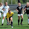 "Lizzy Herzl (18) of CU, charges the net trying to score past keeper, Brooke McCurdy of WSU.<br /> For more photos of the game, go to  <a href=""http://www.dailycamera.com"">http://www.dailycamera.com</a>.<br /> Cliff Grassmick  / August 26, 2012"