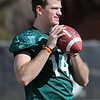 """Quarterback John Schrock works out during the first CU Spring practice on Saturday.<br /> For more photos and videos of practice, go to  <a href=""""http://www.dailycamera.com"""">http://www.dailycamera.com</a>.<br /> Cliff Grassmick / March 10, 2012"""