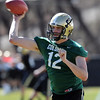 "Quarterback Stevie Joe Dorman works out during the first CU Spring practice on Saturday.<br /> For more photos and videos of practice, go to  <a href=""http://www.dailycamera.com"">http://www.dailycamera.com</a>.<br /> Cliff Grassmick / March 10, 2012"