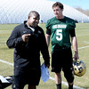 "CU offensive coordinator, Eric Bieniemy, talks with Connor Wood after practice.<br /> For more photos and videos of practice, go to  <a href=""http://www.dailycamera.com"">http://www.dailycamera.com</a>.<br /> Cliff Grassmick / March 10, 2012"