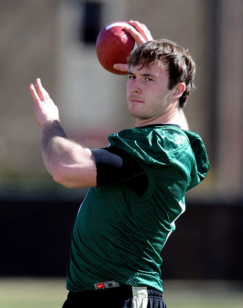 """Quarterback Connor Wood works out during the first CU Spring practice on Saturday.<br /> For more photos and videos of practice, go to  <a href=""""http://www.dailycamera.com"""">http://www.dailycamera.com</a>.<br /> Cliff Grassmick / March 10, 2012"""