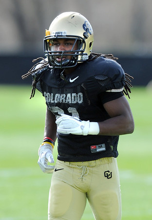 "D.D. Goodson gets ready for Spring practice on Sunday.<br /> For more photos and videos of CU football, go to  <a href=""http://www.dailycamera.com"">http://www.dailycamera.com</a>.<br /> Cliff Grassmick / March 18, 2012"