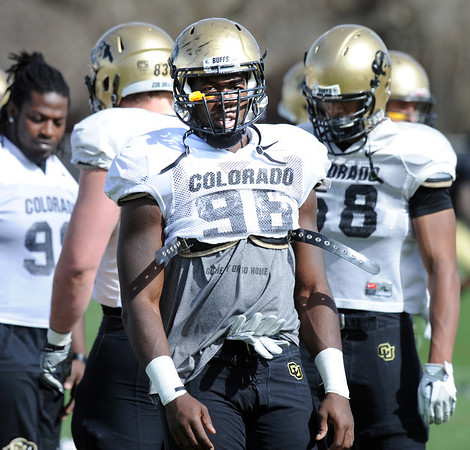 "Chidera Uzo-Diribe at practice on Sunday.<br /> For more photos and videos of CU football, go to  <a href=""http://www.dailycamera.com"">http://www.dailycamera.com</a>.<br /> Cliff Grassmick / March 18, 2012"